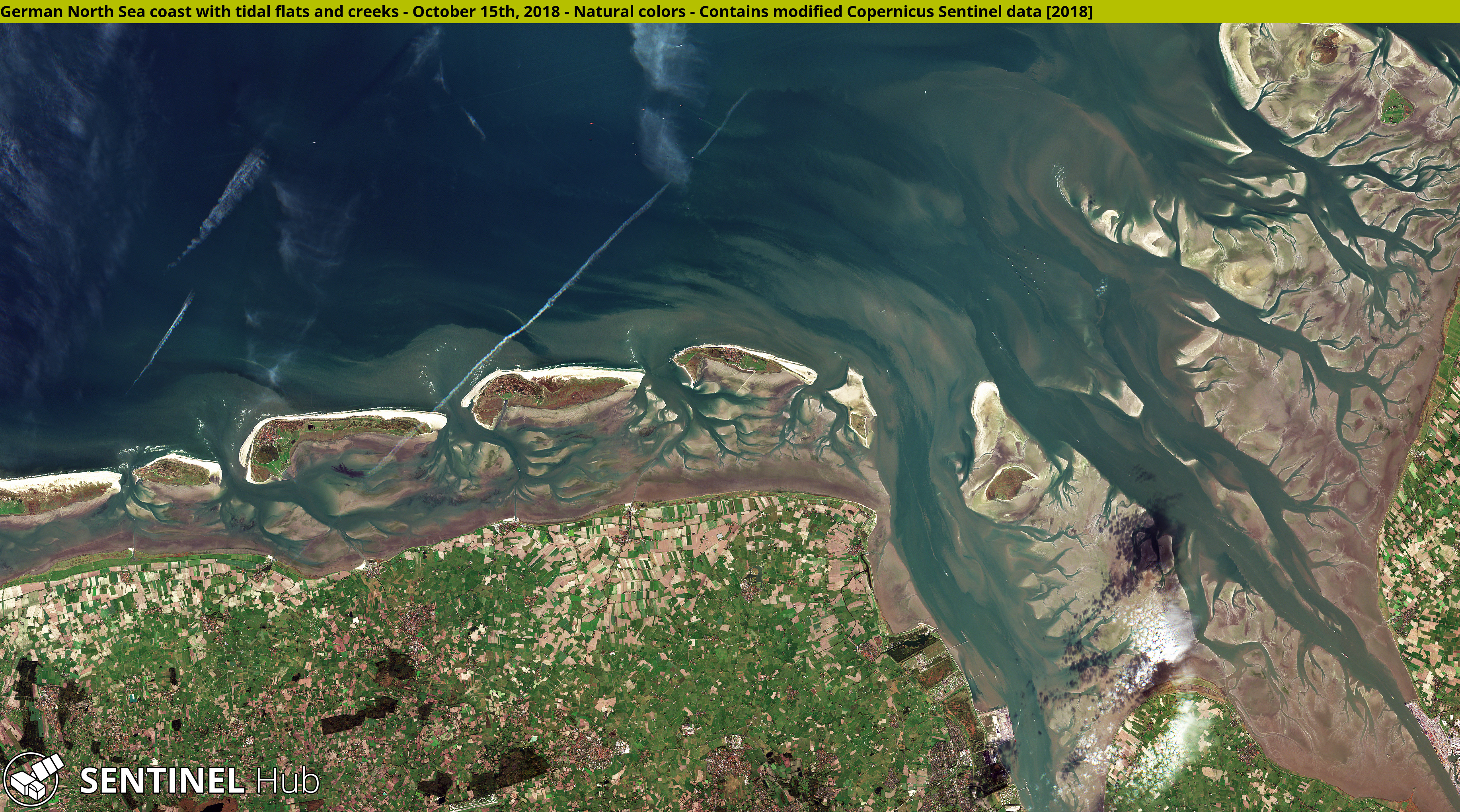 German North Sea coast. Contains modified Copernicus Sentinel data [2018], processed by Sentinel Hub