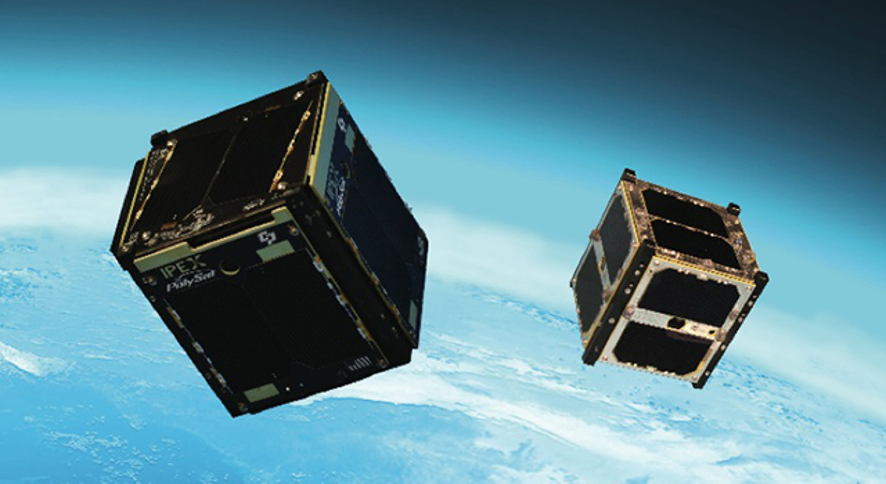 """Artist's concept of the Intelligent Payload Experiment (IPEX) and M-Cubed/COVE-2, two NASA Earth-orbiting cube satellites (""""CubeSats"""") (Credit: NASA/JPL-Caltech)."""