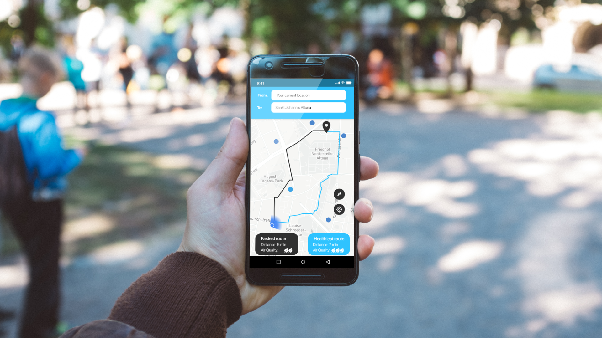 HealthyPlaces is an app that routes pedestrians from A to B while exposing themselves to as little pollution as possible. © HealthyPlaces