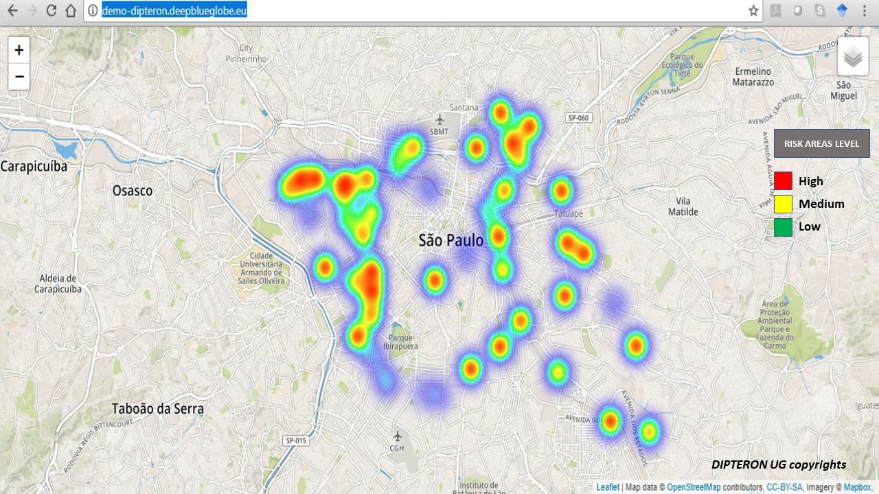 Aedes Mosquito Risk Areas in Sao Paulo ©DIPTERON UG